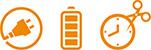 Zu jeder Zeit volle Batterien Icons
